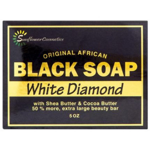 Original African Black Soap Jabón en Pastilla White diamond